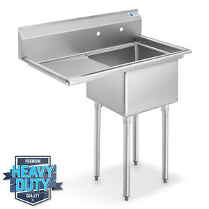 Nsf Stainless Steel 18 Single Bowl Commercial Kitchen Sink W Left Drainboard