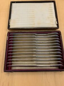Antique 1861 Rare Set Of 12 Gorham Beaded Coin Silver Butter Knives Original Box