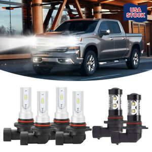 For Chevrolet Silverado 1500 2003 2006 6x 9005 9006 H10 Led Headlight Fog Lights
