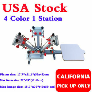 Us 4 Color Silk Screen Printing Press Machine With Micro Registration