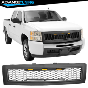 Fits 07 13 Chevy Silverado 1500 Front Bumper Hood Upper Grille Matte Black