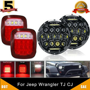 Dot 7 Inch Round Led Headlights Tail Lights Brake Lamp For Jeep Wrangler Tj Cj