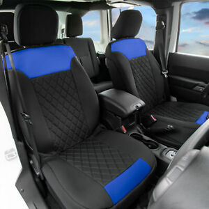 Neosupreme Front Bucket Seat Covers Pair For Auto Car Suv Blue Black