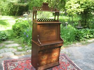 Antique Victorian Walnut Secretary Drop Front Desk 1800s Cabinet Book Shelf