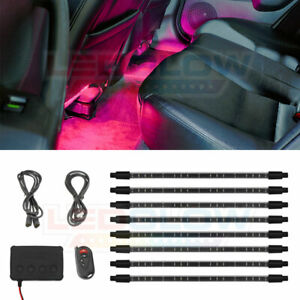 Ledglow 8pc Pink Neon Led Expandable Interior Footwell Underdash Lighting Kit