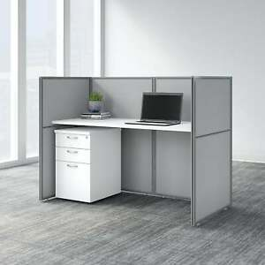 Easy Office 60w Closed Cubicle Desk Set By Bush Business White Large