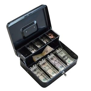 Locking Two tiered Cash Box With Steel Construction Black