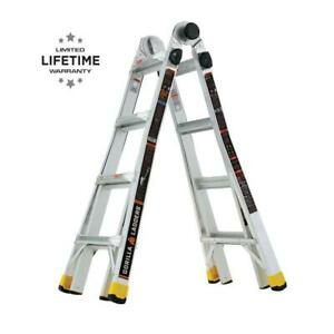 Gorilla Ladders 18 Ft Lightweight Aluminum Multi position Ladder 300 Lb Capacity