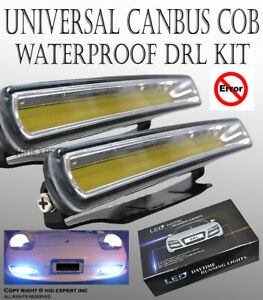 One Set Universal Cob Led White Led Car Daytime Running Light Drl Fog Lamps Y149