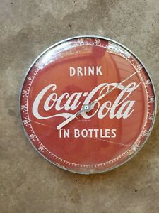 Vintage 1950s DRINK COCA COLA THERMOMETER SODA POP ADVERTISING MATEL SIGN