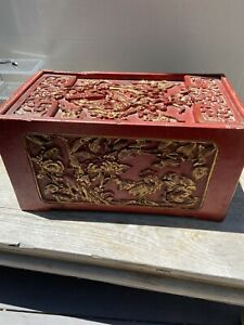 Chinese Carved Laquered Gilded Dowry Mariage Jewerlyn Chest