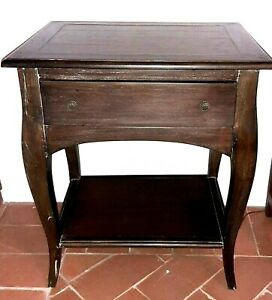 Side Table French Country Night Stand Accent Table Vintage Style Rustic Wood