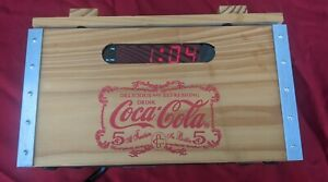 Coca Cola Wood Crate Alarm Clock Radio AM/FM With Digital Time Display. 2002