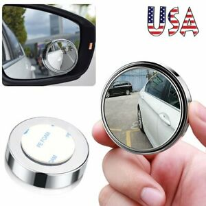 Car Blind Spot Mirrors 360 Degree Rotate Hd Glass Convex Rear View Stick On Lens