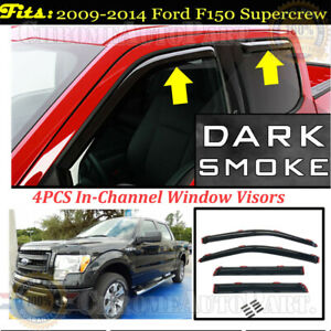 In channel Window Visors Rain Guard Deflectors For 2009 2014 Ford F150 Supercrew
