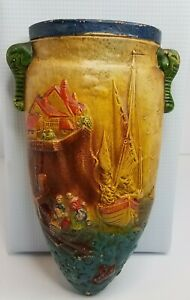 Vintage Japan Wall Pocket Ceramic Mediterranean Fishing Village Sail Decor Vase