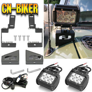 For 07 14 Toyota Fj Cruiser Hood Ditch Led Foglight Pod Steel Mount Wire Kit