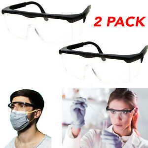 2 Pcs Clear Safety Goggles Glasses Anti Fog Lens Work Lab Protective Chemical