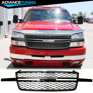 Fits 03 06 Chevy Silverado 1500 2500 3500 Front Bumper Upper Grille Gloss Black