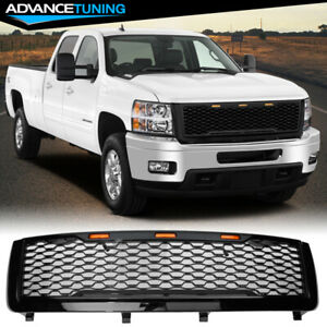 Fits 11 14 Chevy Silverado 2500 3500 Hd Front Bumper Mesh Grille Gloss Black