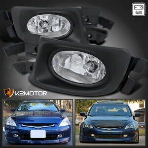For 2003 2005 Honda Accord 4dr Sedan Clear Driving Fog Lights Lamps wiring 03 05