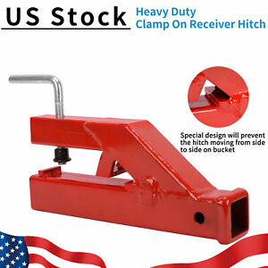 2 Clamp On Bucket Trailer Receiver Hitch Tractor Ball Mount Tow Attachment