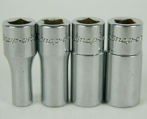 Snap On 4pc 1 4 Drive Sae Semi Deep 6 Point Sockets Tms6 9 11 12 3 16 3 8