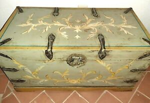 Blanket Chest Trunk French Country Sage Green With Iron Straps Coffee Table Size