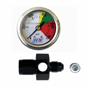 Nitrous Express N2o Pressure Gauge W Flow Thru 4an Fitting Adapter 15509