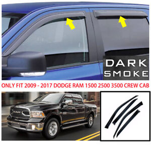 For 2009 2015 2016 2017 Dodge Ram 1500 Crew Cab Window Visor Vent Rain Deflector