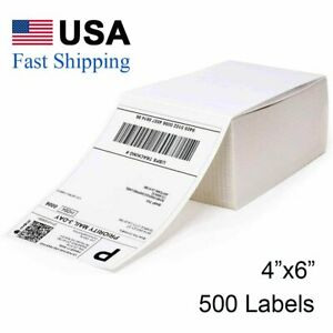 500 4x6 Fanfold Direct Shipping Labels For Zebra Elton Rollo Nex Thermal Printer