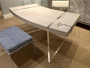 New 77 Curved Modern Horchow Loftus Office Desk Ivory Gesso Acrylic Lucite