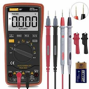 Ranging Digital Multimeter Trms 6000 With Battery Alligator Clips Test Leads