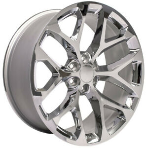 24 Chrome Snowflake Wheels Rims For 2000 2018 Chevy Silverado Tahoe Suburban