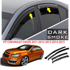 Smoke Window Visor Rain Guard For 2011 2012 2013 2014 2015 Chevy Cruze Tapeon