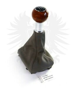 Genuine Oem Audi A6 4b C5 5 Speed Beige Gray Leather Chrome Wood Shift Knob