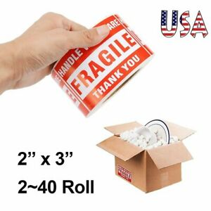 Fragile Stickers 2 X 3 Handle With Care Thank You Shipping Labels 500 roll