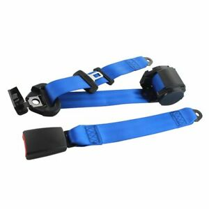 1x Blue 3 Point Safety Adjustable Retractable Auto car Seat Belt Cars Universal