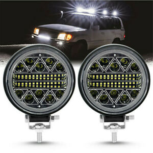 2pcs 4in Round Led Work Lights 13600lm Led Flood Beam Driving Light Us New