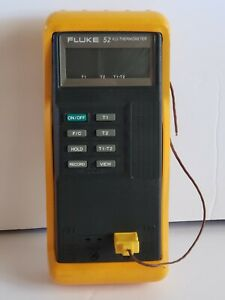 Fluke 52 K j Digital Dual Input Thermometer With Case Probe Tested Working