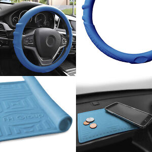 Silicone Steering Wheel Cover W Blue Dash Mat Blue For Auto