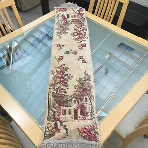 Small Vintage Tapestry Woven Table Dresser Runner Rustic Country Cottage Scene