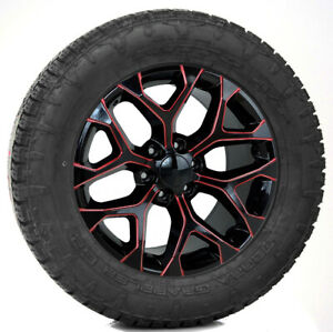 Gmc Sierra 20 Gloss Black Red Milled Snowflake Wheels Nitto 275 60r20 At Tires