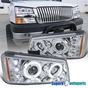 For 2003 2006 Chevy Silverado Led Halo Projector Headlight Lamps Replacement