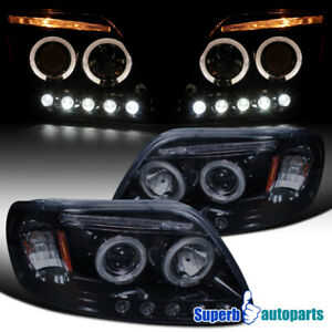 For Black Smoke 1997 2003 Ford F150 Expedition Led Halo Projector Headlights L R