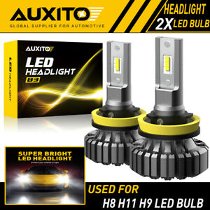 Auxito H11 H8 H9 Led Headlight Kit Low Beam Bulb White 6500k 20000lm Fanless Ea
