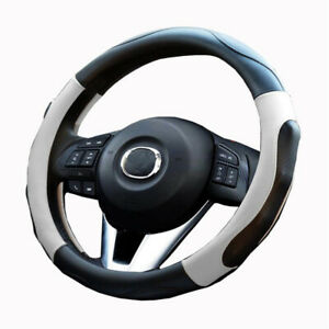 Car Steering Wheel Cover For Car Suv Truck Pu Leather White Non Slip Massage