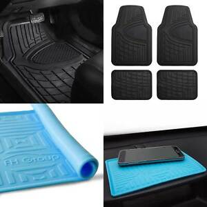 All Weather Car Floor Mats For Auto Sedan Suv Custom Fit Black W Blue Dash Mat