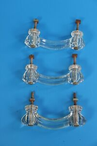 3 Antique Glass Drawer Pull Knobs Victorian
