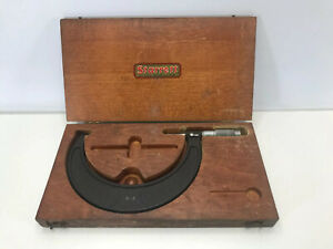 Brown Sharpe Outside Micrometer 5 6 Range With Wooden Case Made In Usa
